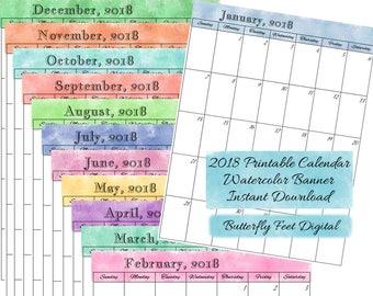 2018 Printable Calendar, Watercolor Art, Monthly Calendar, Letter Size, JPG 300 dpi, Instant Download