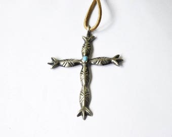 Vintage Native American Sterling Silver Cross with Turquoise Stone