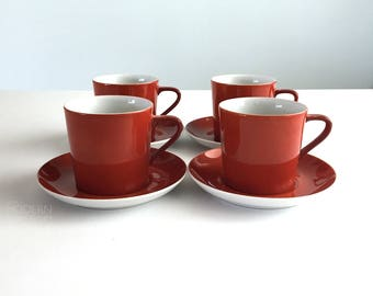 4 Freeman Lederman Kenji Fujita Modern Burnt Orange Cups and Saucers