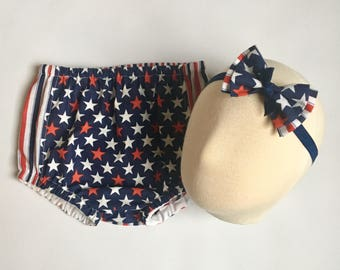 4th of July diaper cover headband stars and stripes nappy headband with bow red white and blue