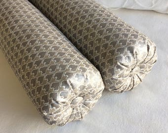PAIR DIEGO bolster pillows 6x22 in champagne