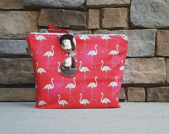 The Beach Clutch  {Flamingos} Take me to the beach! Fully lined in PUL.  Wet bag.