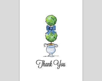 Topiary Thank You Note Cards // Blank Thank You Notes // Topiary Stationery