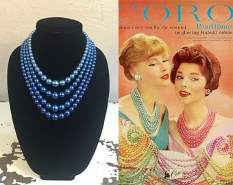 Eyes as Blue as the Pacific - Vintage 1950s Royal Tones of Blue 4 Strand Faux Pearl Necklace