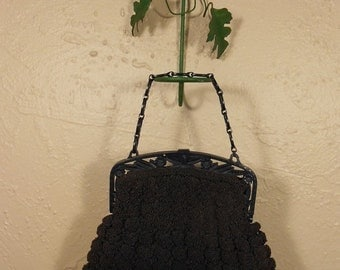 Anniversary Sale 35% Off I Am Just Popping Off to the Shops - Vintage 1940s WW2 Navy Blue Rayon Popcorn Knitted Bag w/Celluloid Handle
