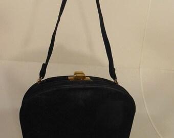 Anniversary Sale 35% Off My Life in a Stealth Bag - Vintage WW2 1940s Black Nubuck Leather Handbag
