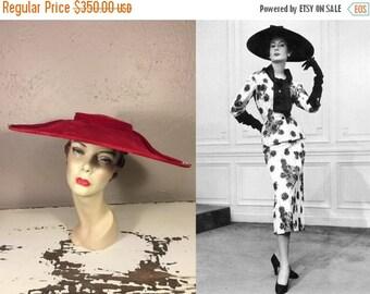 Anniversary Sale 35% Off Yes Dahling Yes  - Vintage 1950 Lipstick Red Velvet Cartwheel Platter Wide Brim Hat w/Rhinestone Buttons