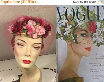 Anniversary Sale 35% Off I Wanted A Garden - Vintage 1950s Every Shade of Pink Floral Buds Pill Box Veiled Fascinator