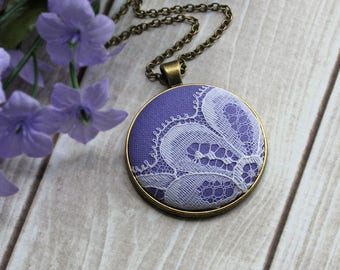 Pastel Purple Necklace, Lavender Bridesmaid Jewelry With Vintage Lace, Fall Wedding, Unique Gift For Women