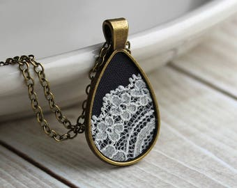 Teardrop Necklace, Lace Jewelry, Cotton, Anniversary, Unique Gift For Women, Bridesmaid Pendant, Ivory, Gray Black Tear Drop