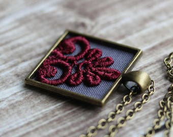 Art Deco Burgundy Necklace With Lace, Unique Christmas Gift For Wife, Mom, Sister, Gray Fabric, Square Pendant