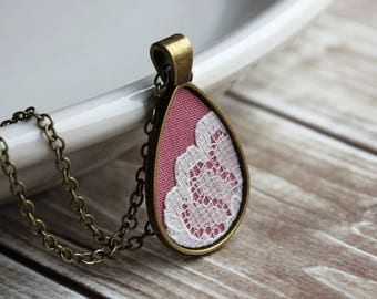 Valentine's Day Gift, Pink Necklace, Teardrop Pendant, Cotton, Lace, Unique Jewelry For Women, Bridesmaid, Mom, Sister, Wife