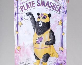 Tea Towel - Amazing Plate Smashing Bear