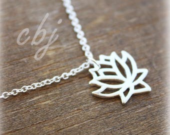 Lotus Flower Necklace, Lotus Jewelry, Lotus Charm, Yoga Jewelry, Yoga Necklace, Choker Necklace