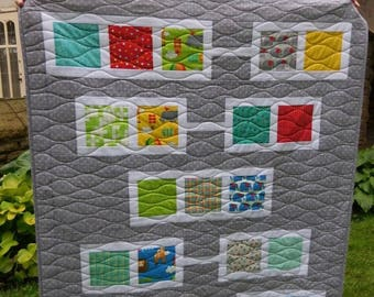 Modern Quilt,  Gray Quilt, Handmade Quilt, Child Quilt, Gender Neutral Quilt, Nursery Decor