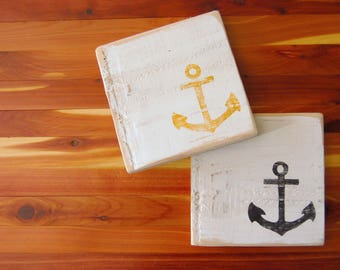 Anchor Coasters Set of 4 - Nautical Coasters - Rustic Coasters - Handpainted Cedar - Nautical Gift - Yellow and Black Anchor - Wood Coasters
