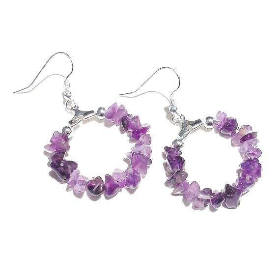 Gemstone Chip Hoop Earrings 25mm - Purple Amethyst