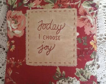 Prim Stitchery Choose Joy Pillow ~OFG