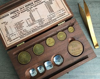 Antique Apothecary Weights Drugstore Collectible Henry Troemner Chichester Chemical Co.