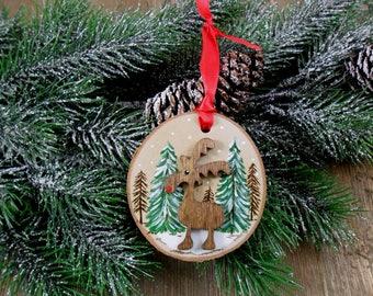 Wood Burned Rudolph Reindeer Moose Ornament Birch Slice Christmas Hand Burned - Painted