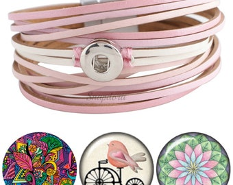 Vegan leather snap bracelet set w/ 3 mini snap charms. Secret Santa gift, Gift for Mom, Christmas Gifts for Her, Gifts Under 20