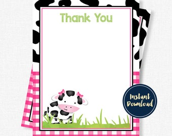 Cow Thank You Cards, Cow Birthday Thank You, Cow Print Thank You, Pink Cow Printable INSTANT DOWNLOAD