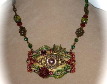 HUGE SALE Assemblage Pendant Necklace, OOAK, Burgundy and Green with Watch Face and Swallow on Ornate Handmade Beaded Chain
