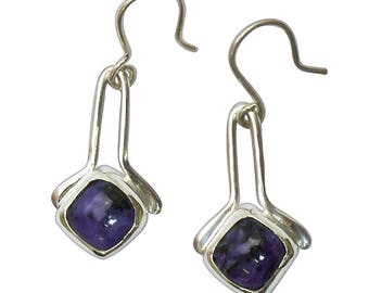 Charoite and Sterling Silver Dangle Earrings  echtd2824