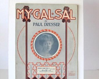 Vintage Sheet Music My Gal Sal by Paul Dresser