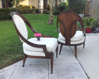BAKER STYLE SPOON Back Arm Chairs / Mid Century Modern Baker Style Spoon Arm Chairs / Pair of Spoon Arm Chairs at Retro Daisy Girl