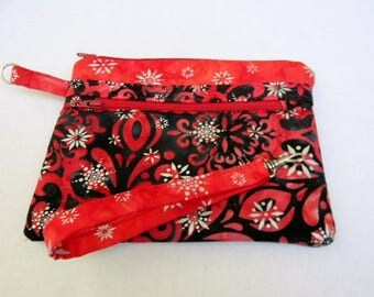 Red and Black Holiday Zipper Pouch with Detachable Handle