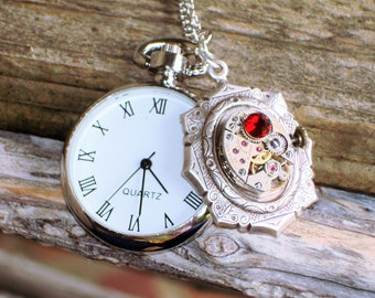 Women's Silver Open Face Miniature Vintage Look Pocket Watch Necklace    C 8-14