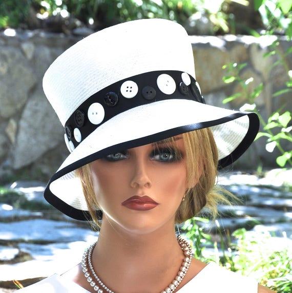 Women's Black and White Hat, Wedding Hat, Formal Hat, Cloche, Unique Hat, Church Hat, Dressy Hat Tailored Hat, Ladies Dress Hat Occasion Hat