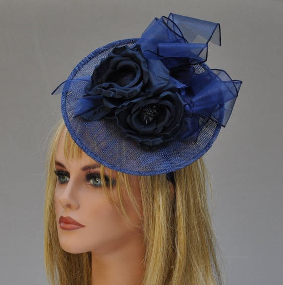 Navy Fascinator, Wedding Hat, Kentucky Derby Hat, Navy Saucer hat Ascot Navy Headpiece Ladies Formal Hat Ladies Navy Hat Event Occasion Hat,
