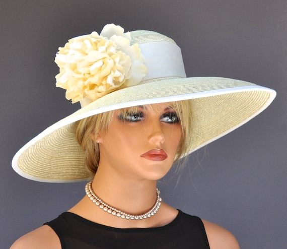 Wide Brim Derby Hat, Wedding Hat, Church Hat, Formal Hat, Audrey Hepburn Hat, Ladies Yellow Hat, Ascot Hat, Mother of Bride Hat Ocassion Hat