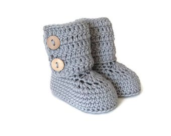 Tall Button Cuff Baby Booties in Gray Merino Wool