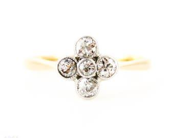 Antique Quatrefoil Diamond Cluster Ring, Old European Cut Diamonds in 18ct. 0.26 ctw, Circa 1890s.