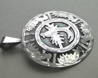 Vintage Guatemala Sterling Silver Filigree Bird Pin Pendant / Jewelry / Sterling Silver Filigree Pendant / Bird of Paradise Pin / Vintage