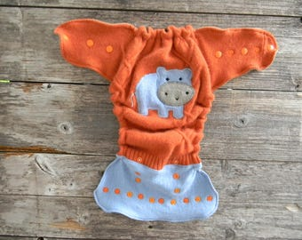 Upcycled Cashmere/Merino Wool Nappy Cover Diaper Wrap Cloth Diaper Cover One Size Fits Most Orange/ Blue With Hippo Applique/ Brown&Beige