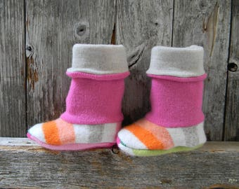 Upcycled 100% Wool Baby Booties High Top Boots Baby Girl Booties Upcycled Wool Booties 6 - 10 Months