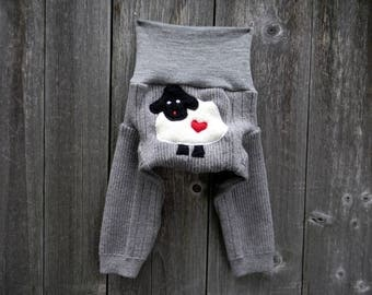 NEWBORN Upcycled Merino Wool Longies Soaker Cover Diaper Cover With Added Doubler Gray With Baa Baa Sheep Applique NB 0-3M