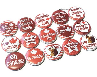 "Canada, 1"", Button, Canada Pin, Canada Button, Canada Pinback, Canada Flatback, Canadian Decor, Canada Theme, Canada Decor, Canada Party"