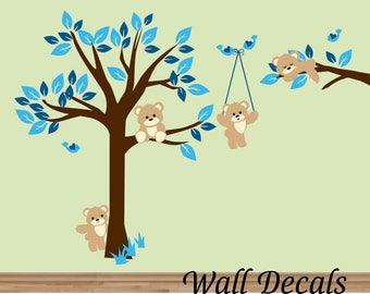 wall decals Nursery Teddy Bears Wall Sticker tree with bears nursery children wall sticker  wall decor boy or girl