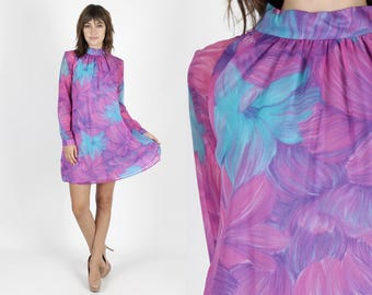 Mod Dress 60s Dress Psychedelic Dress Purple Dress Chiffon Dress Mini Dress Scooter Dress Vintage Dress Watercolor Floral Bright Wedding M