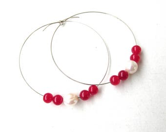 Big hoop earrings, red Jade and white freshwater pearls