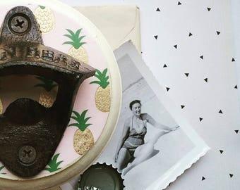Pineapple Bottle Opener, Wall Mount Beer Bottle Opener, Pineapple Design, Trendy Housewarming or Hostess Gift Idea, Boho Home Decor