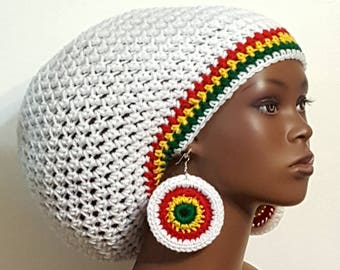 Rasta Trim Crochet Large Tam with Drawstring and Earrings White Red Yellow Green by Razonda Lee Razondalee