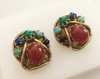 Egyptian Revival Earrings, Vintage Jewelry, Scarab Earrings, Vintage Clip On Earrings, Gold Tone Clip Ons, Vintage Earrings Red, Blue, Green