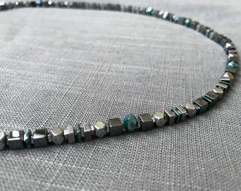 Pewter and teal necklace