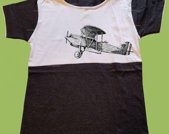 Boys Hooded T-Shirt, Vintage Black shirt, Airplane shirt, Boys grahic shirt, Birthday outfit, preschool shirt, toddlers,  ChiTownBoutique